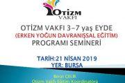 OTİZM VAKFI 3-7 yaş EYDE(Erken Yoğun Davranışsal Eğitim Programı) SEMİNERİ-BURSA